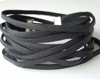 Leather Wrap Bracelet, Leather Bangle, Multistrand Leather Bracelet, Leather Cuff, Double Wrap, Boho Bracelet, Layered Leather Wrap Bracelet