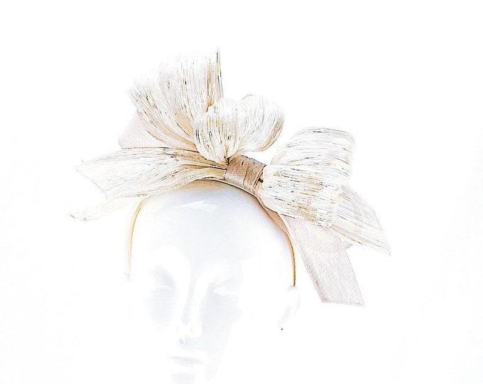 Silver Abaca Silk Sinamay Headband