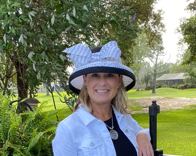 Black and White Polka Dot Sinamay Hat