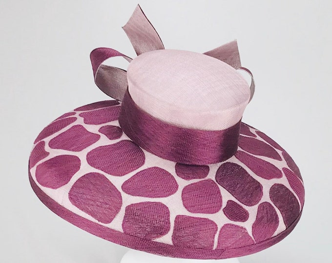 Plum and Lavender Giraffe Print Sinamay Hat