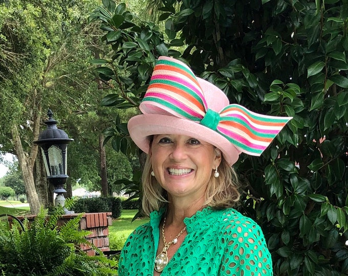 Light Pink and Green Small Brim Sinamay Hat