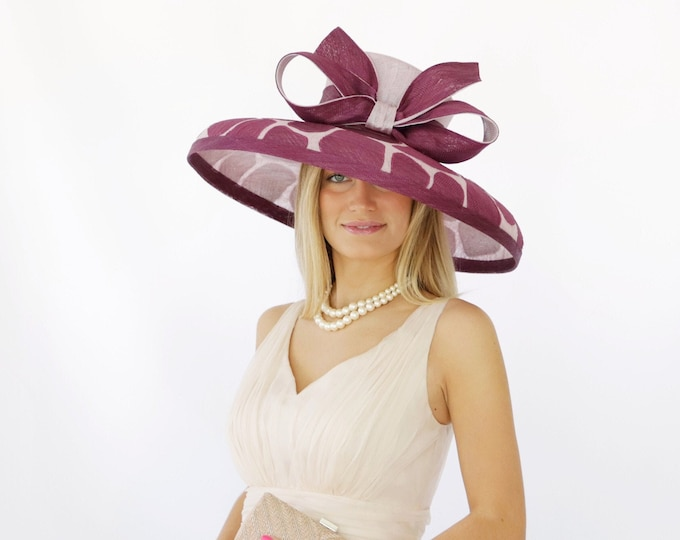 Plum and Lavender Giraffe Print Sinamay Hat