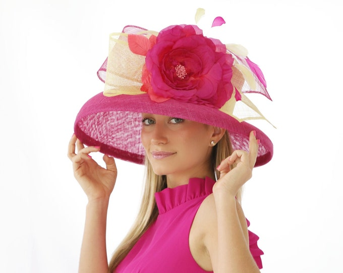 Fuchsia and Light Yellow Wide Brim Sinamay Hat