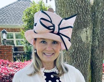 Pink Small Brim Hat with Black Trim