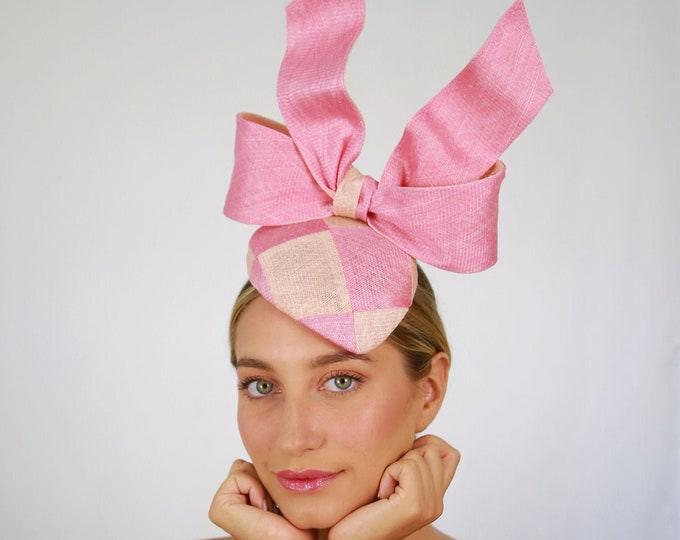 Pink and Peach Sinamay Fascinator