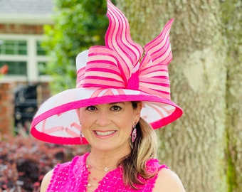 Pink and White Jockey Silk Inspired Wide Brim Hat