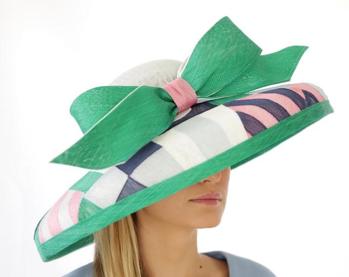 Multi Color Sinamay Wide Brim Hat