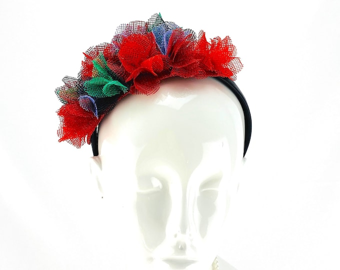 Multicolored Sinamay Flowers Headband