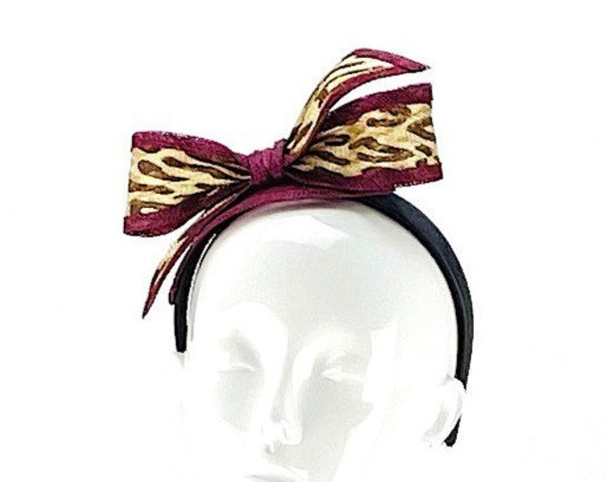 Leopard and Maroon Headband