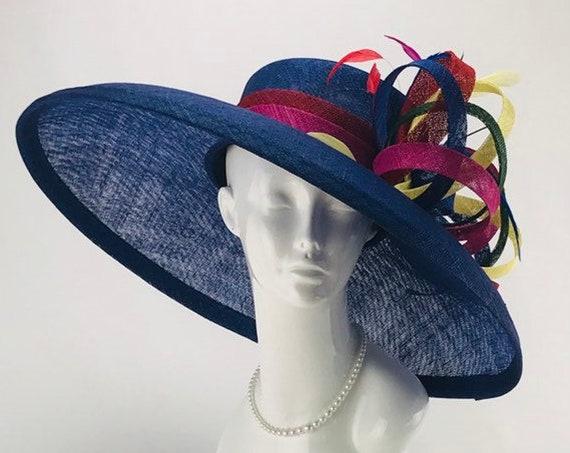Royal Blue Wide Brim Sinamay Hat