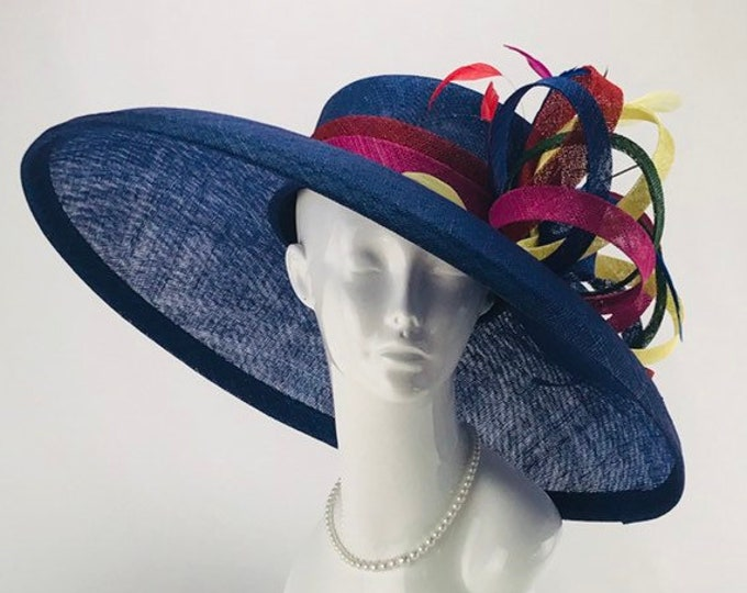 Royal Blue Wide Brim Sinamay Hat