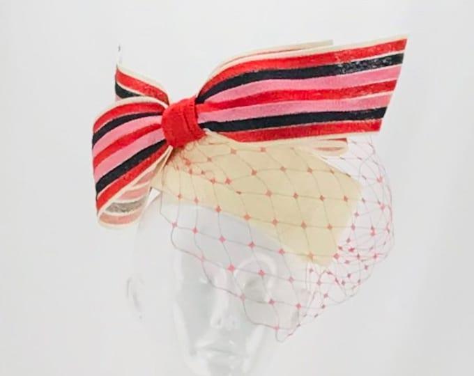 Ivory Pillbox with Stripe Bow