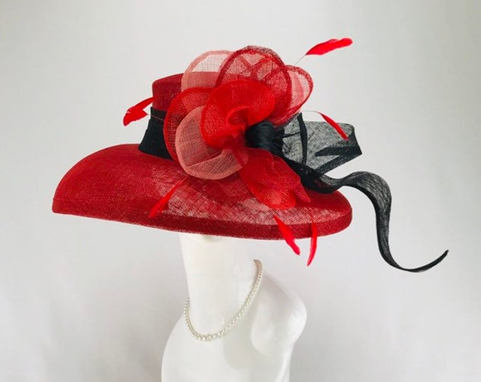 Red Rose Wide Brim Sinamay Hat