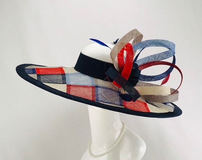 Red, Blue and Gray Multi Color Sinamay Wide Brim Hat