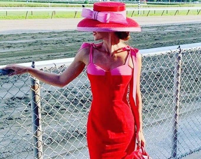 Red Sinamay Hat with Pink Trim