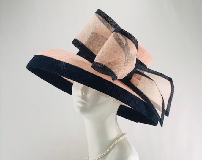 Pink and Navy Sinamay Wide Brim Hat