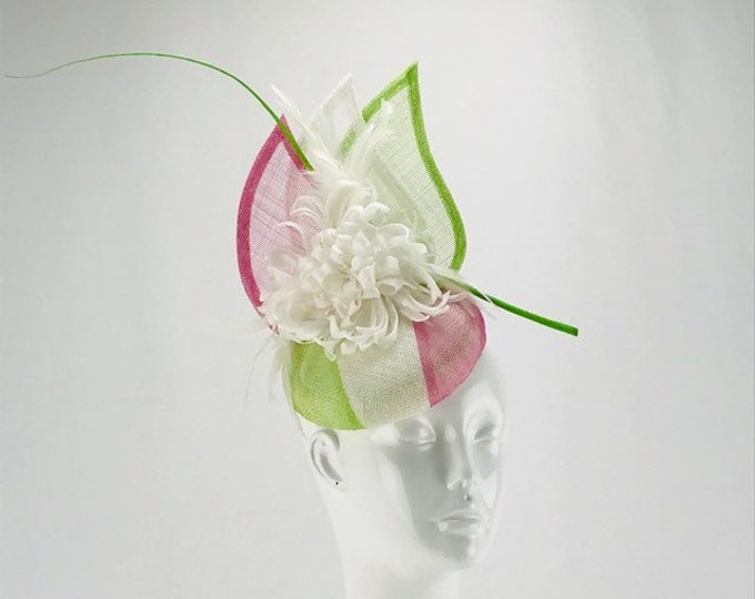 Pink, White and Green Fascinator
