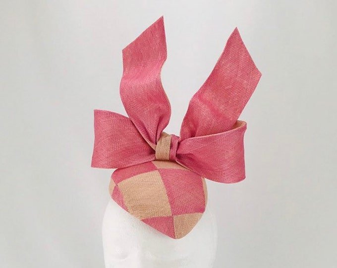 Pink and Peach Check Fascinator with Sculpted Bow