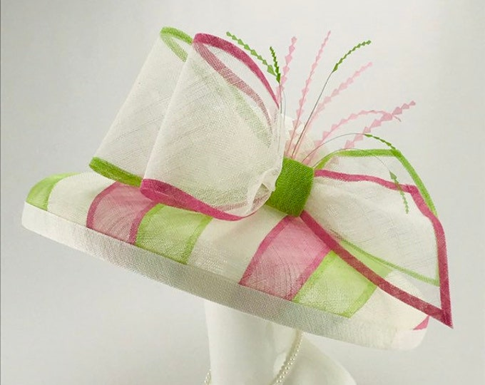 Pink, Green and White Wide Brim Sinamay Hat