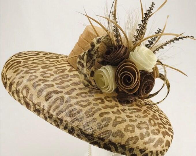 Animal Print Wide Brim Sinamay Hat