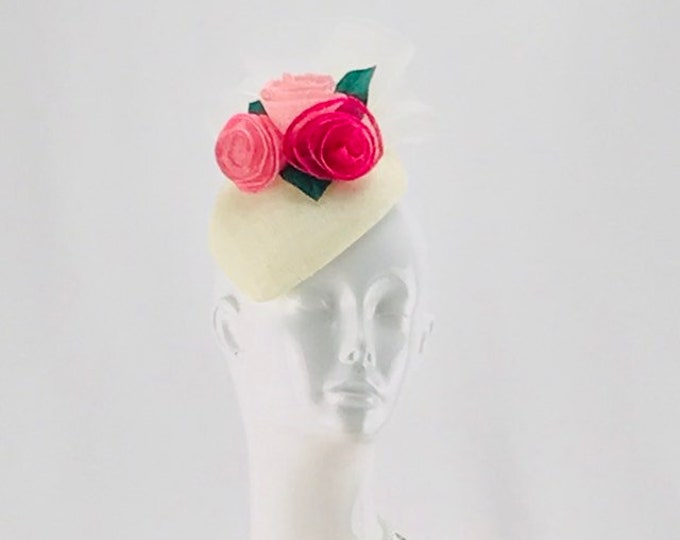 Ivory Fascinator with Pink Roses