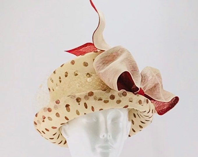 Ivory and Red Polka-dot Small Brim Hat