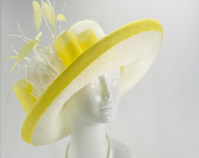 Ivory and Yellow Sinamay Wide Brim Hat