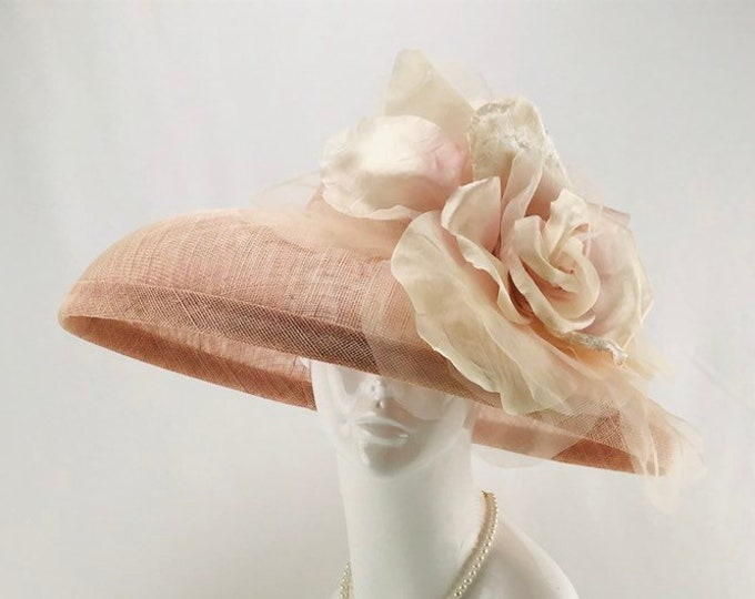 Light Pink Wide Brim Sinamay Hat