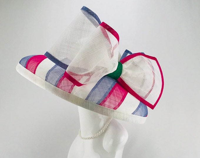 Pink, Light Blue and White Wide Brim Sinamay Hat