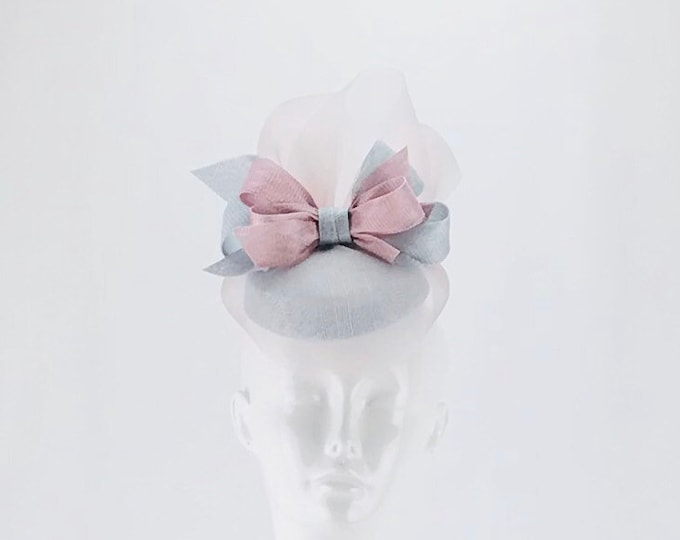 Light Blue and Pink Fascinator