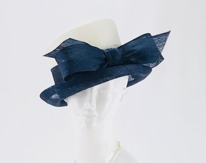 Navy and White Small Brim Sinamay Hat