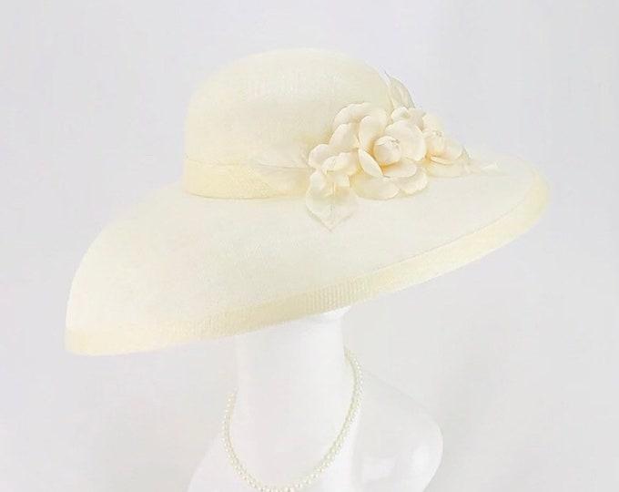 Ivory Sinamay Wide Brim Hat
