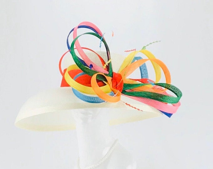 Ivory Hat with Multi Color Bow