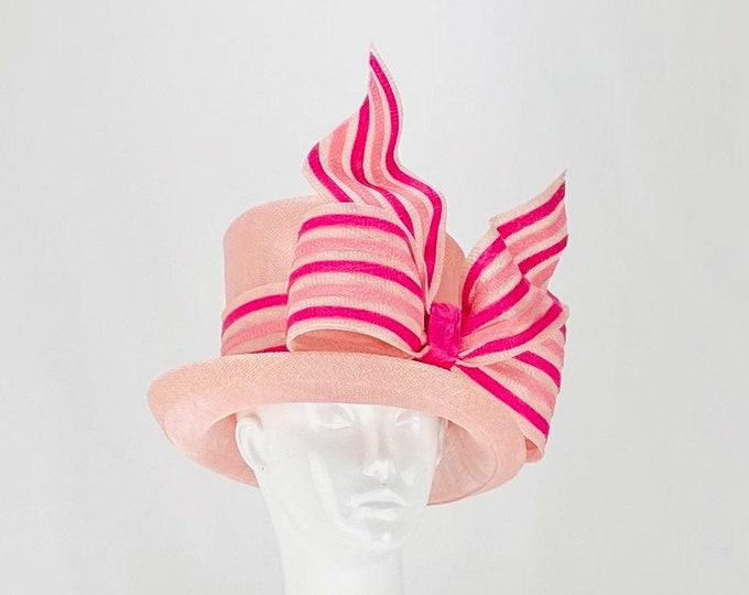 Light Pink Sinamay Hat with Multi Pink Bow