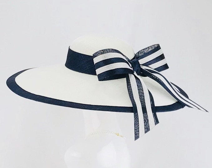 White Sinamay Wide Brim Hat