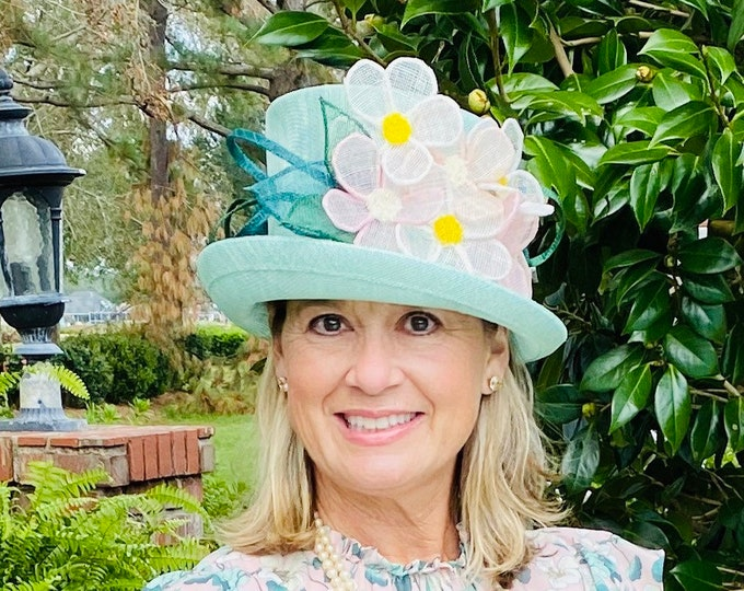 Light Green Floral Small Brim Hat
