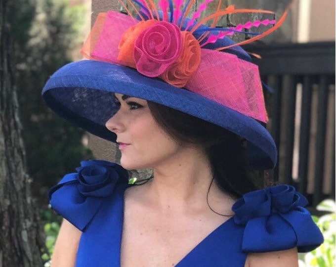 Cobalt, Orange and Fuchsia Wide Brim Sinamay Hat