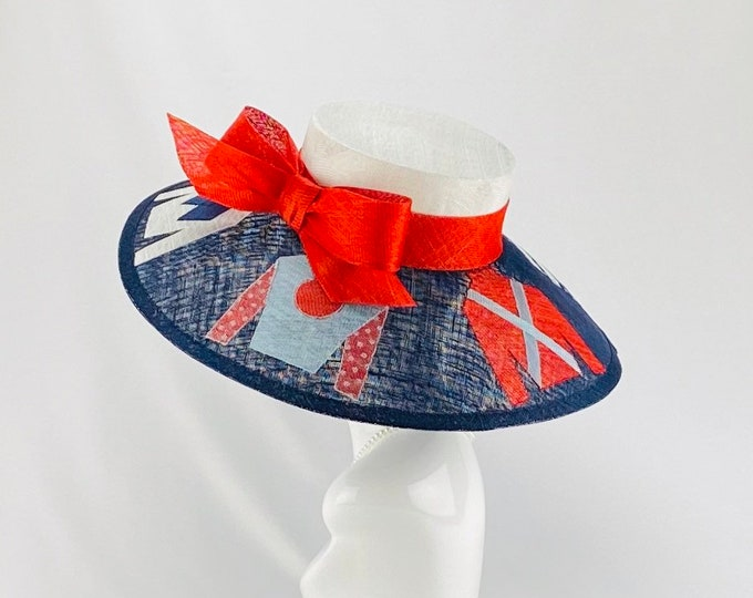 Red, White and Blue Jockey Silk Wide Brim Hat