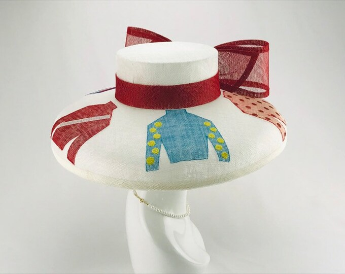 White Jockey Silk Wide Brim Hat