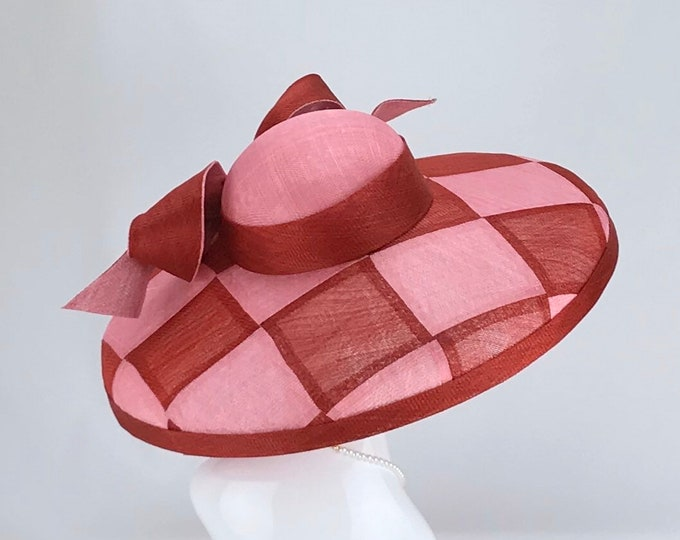 Red and Pink Check Sinamay Hat