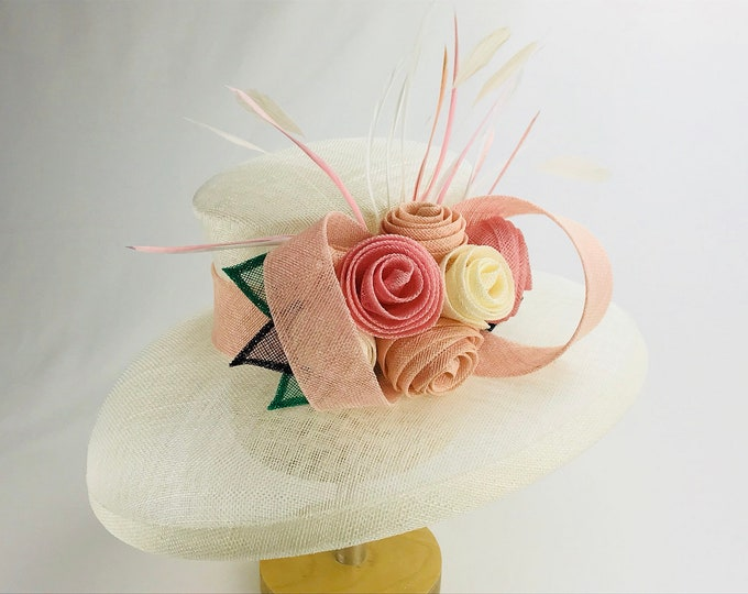 Ivory Wide Brim Hat with Blush Floral Trim