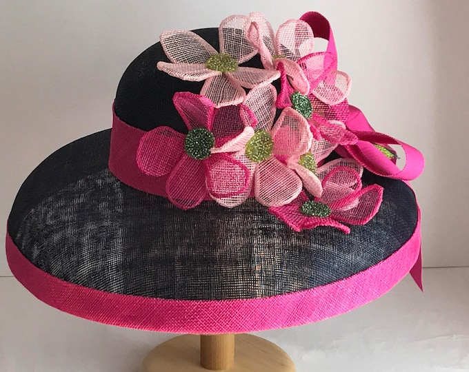 Navy Sinamay Hat with Pink Bouquet