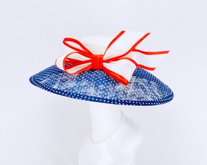 Red, White and Blue Polka Dot Hat