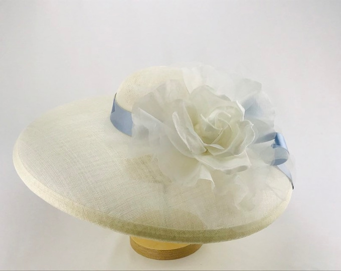 Ivory Wide Brim Hat with Blue Satin Bow