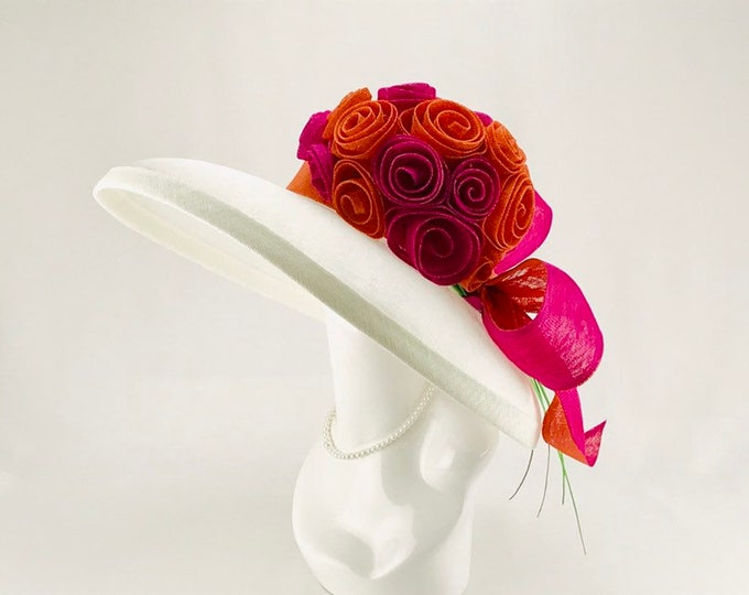 White, Pink and Orange Sinamay Hat