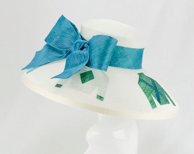 Jockey Silks White Wide Brim Hat