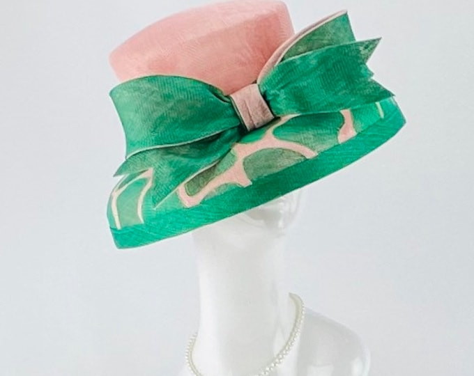 Pink and Green Giraffe Sinamay Hat