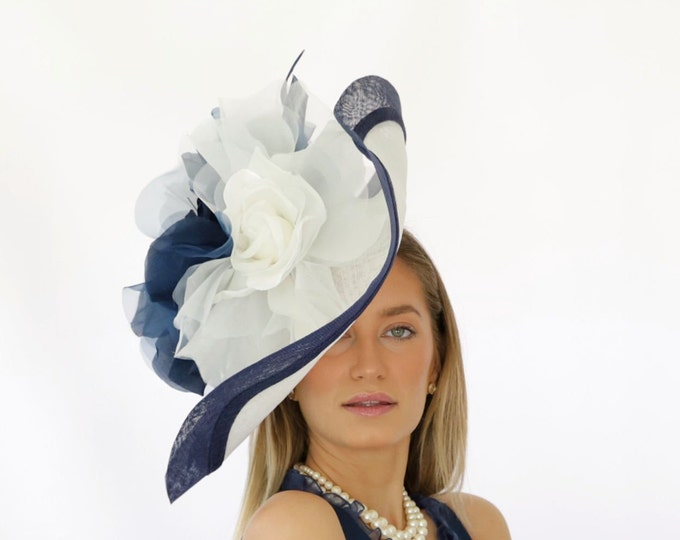 Navy and Ivory Sinamay Hatinator