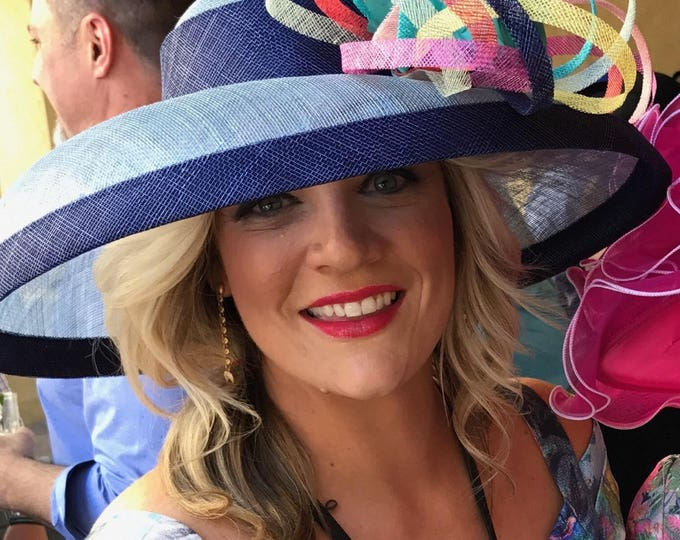 Blue Sinamay Hat With Multi Color Bow