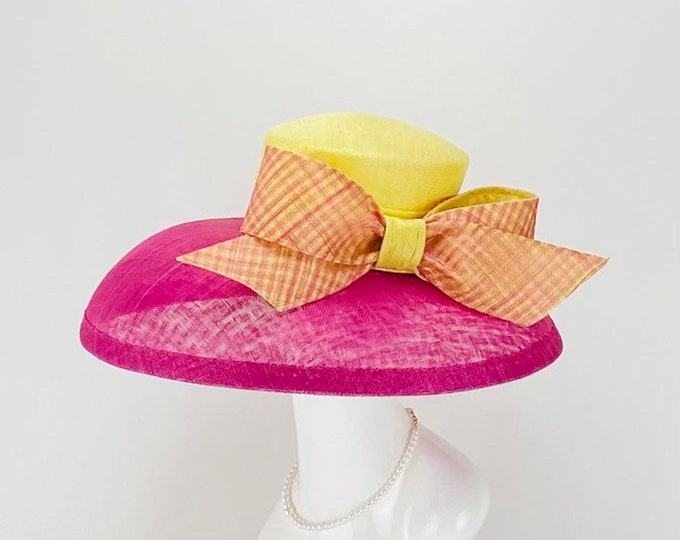 Fuchsia and Light Yellow Wide Brim Hat